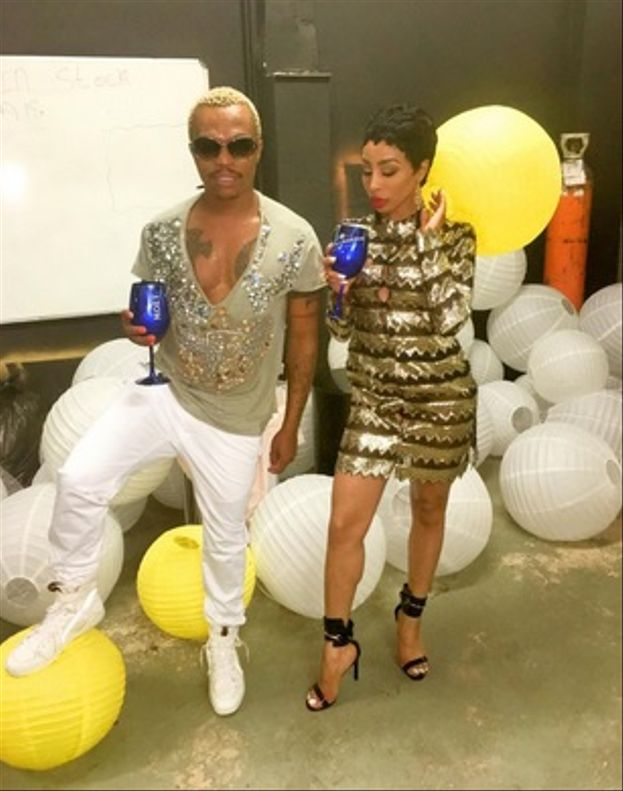 Sparkly oh so sparkly - Khanyi's sequined gold metallic dress and peep toe strappy sandals with Somizi's white pants, beige top with embellished detail.