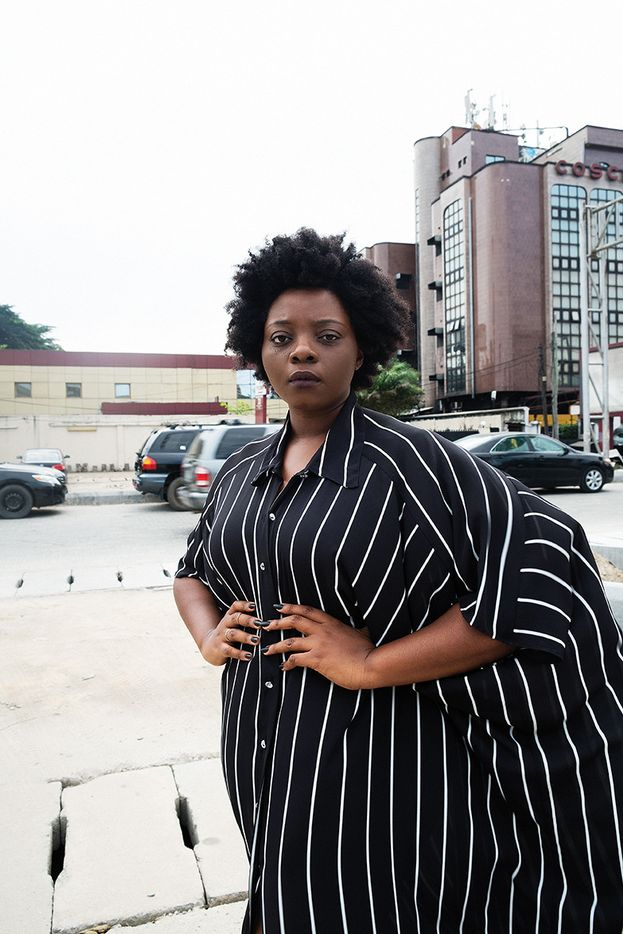 Looking pretty in this striped cape dress is Lagos based creative director, Bolajii Animashaun. We absolutely adore how this dress accentuates her body. And that pose wins us over.