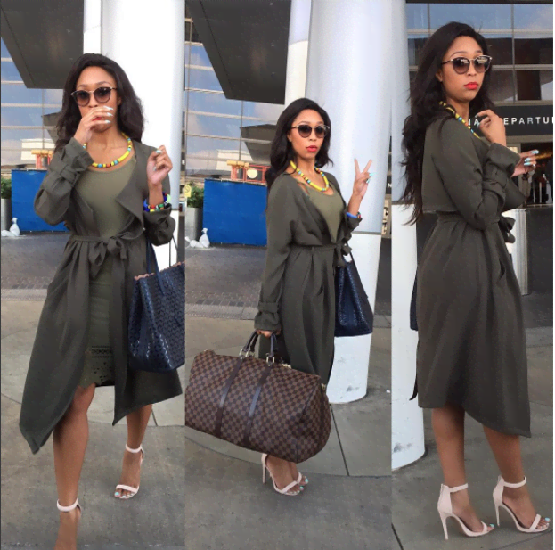 Socialite and presenter Minnie Dlamini turns up the heat in this oversized army coat with a matching dress and African accessories. Don't you just love the versatility in this look?