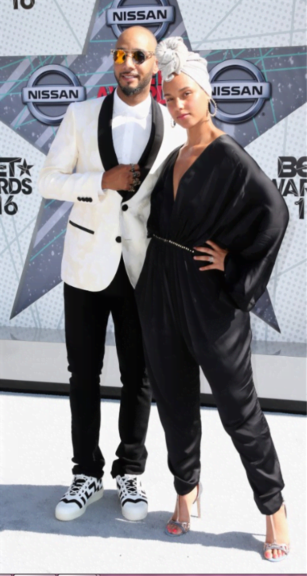 On her no-make-up steez is Alicia Keys and husband Swizz Beats