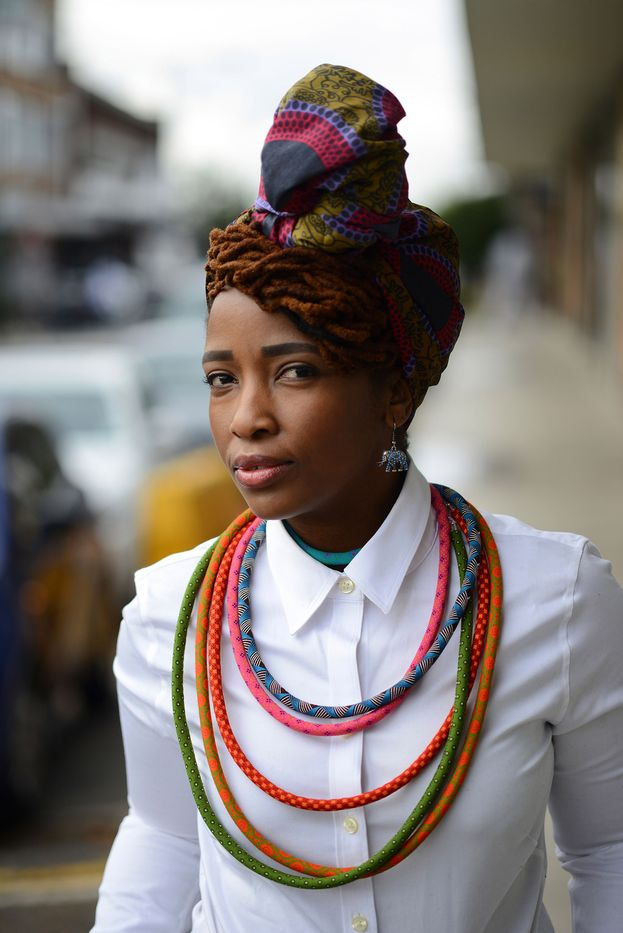 If all else fails rock a crisp white shirt with oversized African neckpieces and a head wrap like South African writer and editor, Lerato Shabalala. You can never go wrong!