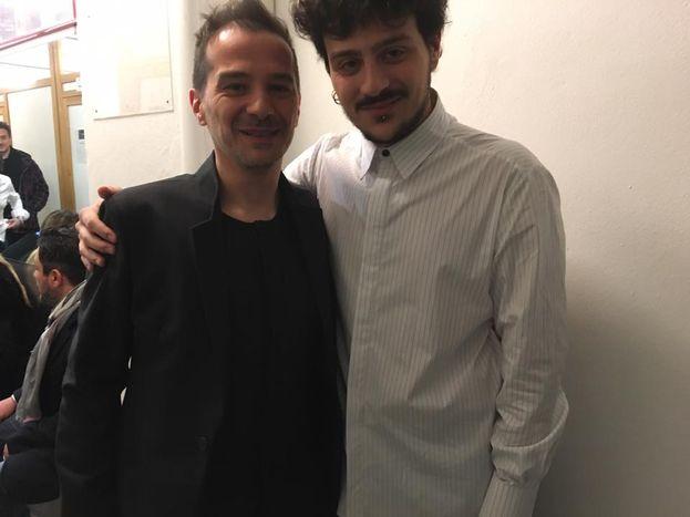 Leonardo Lamacchia e il suo maestro prima di esibirsi nella seconda serata...