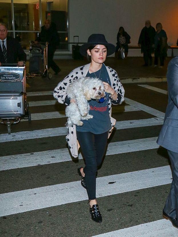 Lucy Hale immortalata all'aeroporto di Los Angeles: il suo cagnolino sembra aver sofferto il viaggio