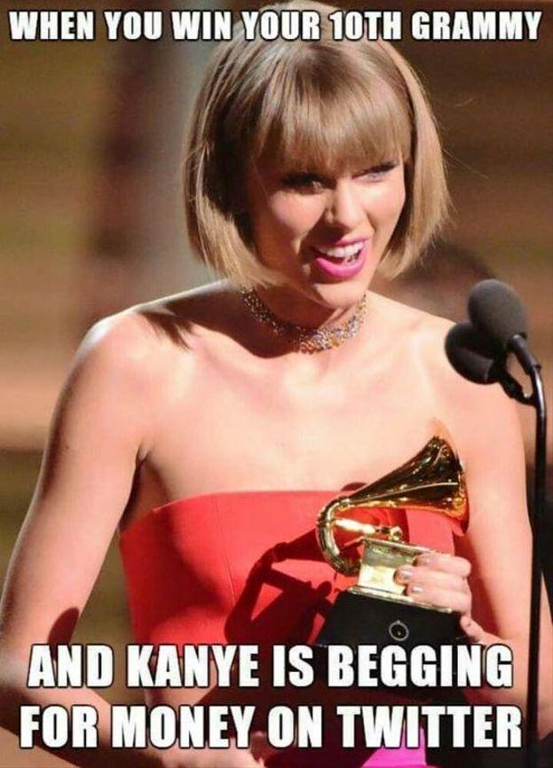 """Pioggia di meme per Taylor anche dopo i Grammy Awards: """"Quando vinci il tuo decimo Grammy... e Kanye West elemosina soldi su Twitter"""""""