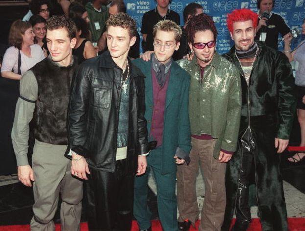 """'N Sync: 7. Un biennio d'oro per la boy band di Justin Timberlake: tre Moonman nel 2000 con """"Bye Bye Bye"""", quattro nel 2001 con """"Pop"""". Nella foto, gli 'N Sync ai VMA nel 1999."""