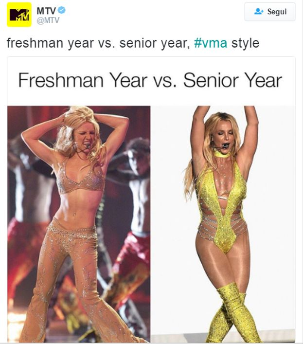 """""""Il primo anno di liceo vs. l'ultimo anno"""": lo show di Britney Spears ai VMA non è passato inosservato ;)"""