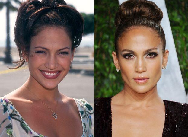 Jennifer Lopez nel 1997 (il decennio delle sopracciglia a filo) e oggi