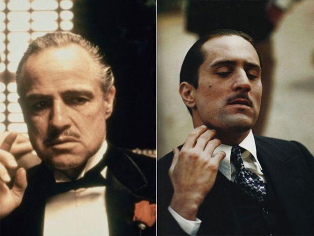 Marlon Brando y Robert De Niro como Vito Corleone