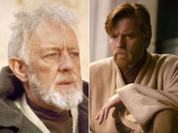 Alec Ginness e Ewan McGregor como Obi-Wan Kenobi