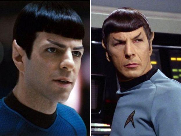 Zachary Quinto y Leonard Nemoy como Spock