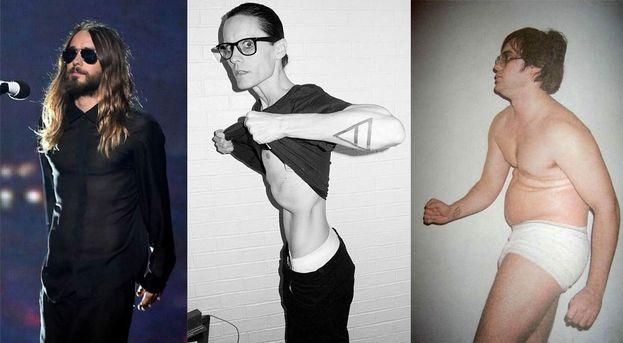 """Il camaleontico Jared Leto: fisico scheletrico per """"Dallas Buyers Club"""" (2013) e sovrappeso in """"Chapter 27"""" (2007)."""