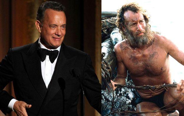 """Indimenticabile Tom Hanks in """"Cast Away"""": 20 kg persi per interpretare il naufrago più famoso del cinema."""