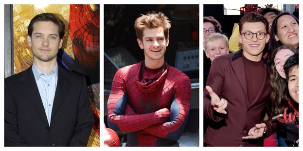Tobey Maguire, Andrew Garfield e Tom Holland