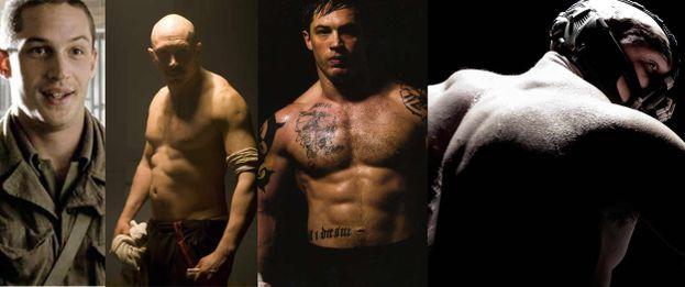 """Tom Hardy sembra diventare sempre più grosso: da sinistra a destra in """"Band Of Brothers"""" (2001), """"Bronson"""" (2008), """"Warrior"""" (2011) e """"Il cavaliere oscuro - Il ritorno"""" (2012)."""