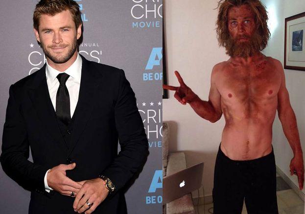 """Chris Hemsworth, lo statuario Thor nei film Marvel, si mostra in versione pelle e ossa (15 kg persi) per il film """"Heart of the Sea - Le origini di Moby Dick""""."""