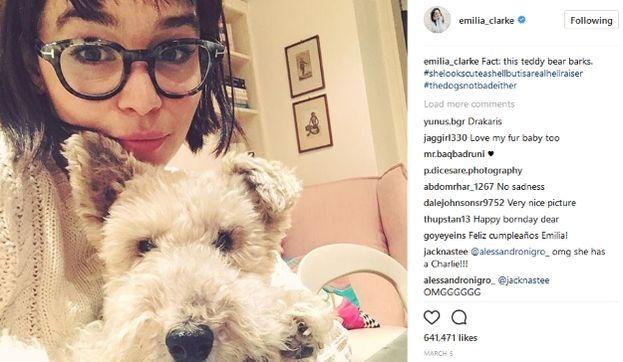 Emilia Clarke con il suo cane