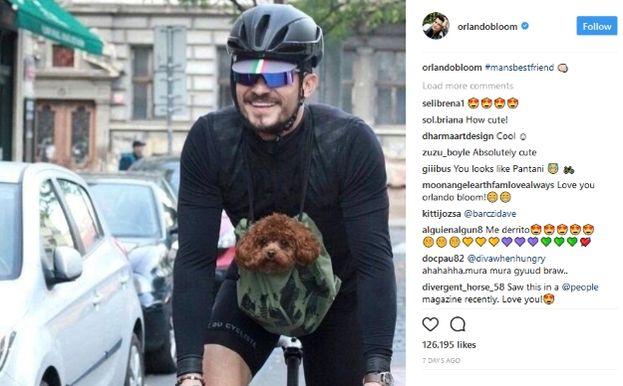 Orlando Bloom in bici con il suo cane