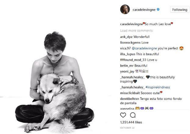 Cara Delevingne con il suo cane Leo