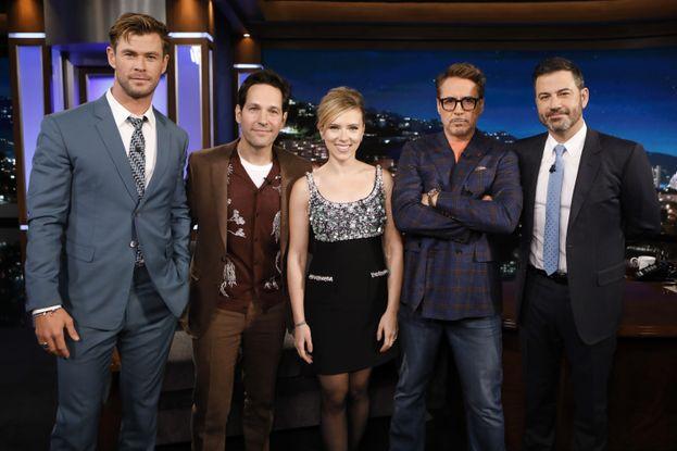 Chris Hemsworth, Paul Rudd, Scarlett Johansson, Robert Downey Jr. e Jimmy Kimmel