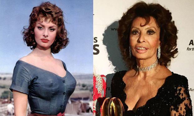 Sofia Loren nel 1957 e oggi