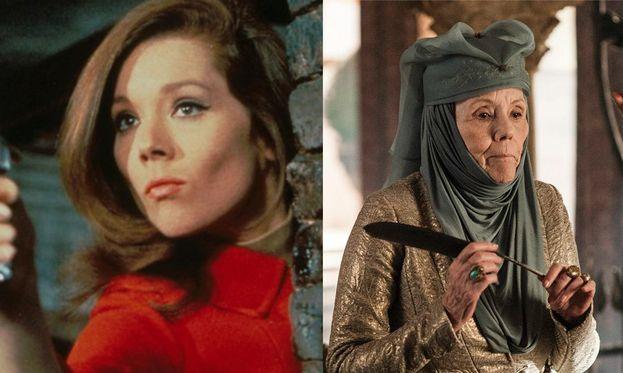 Diana Rigg nel 1961 e oggi
