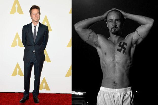 """Per interpretare Derek Vinyard in """"American History X"""", Edward Norton ha messo su 16 kg di muscoli."""