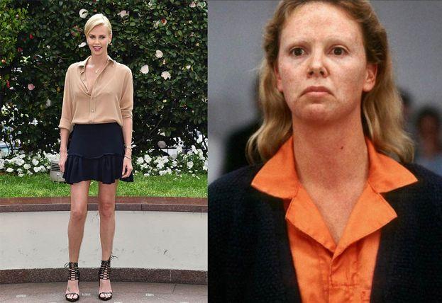"""Charlize Theron irriconoscibile, con 15 kg in più e un deciso ritocco del viso, nel ruolo della serial killer Aileen Wuornos, nel film del 2003 """"Monster""""."""