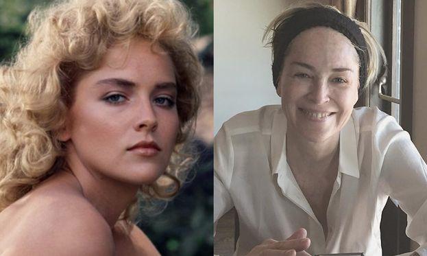 Sharon Stone nel 1985 e oggi
